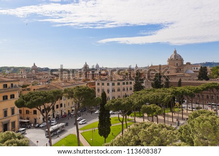 View of Rome cityscape at sunny day