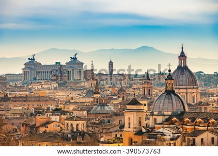View of Rome from Castel Sant\'Angelo