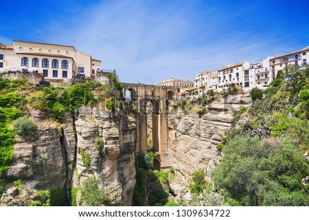 View of Ronda village, one of the famous white villages (Pueblos Blancos) of Andalucia, Spain Stockfoto ©