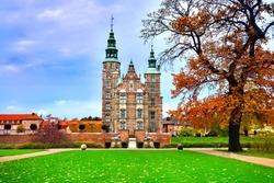 View of Rosenborg castle from the front gardens during autumn, Copenhagen, Denmark