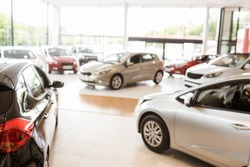 View of row new car at new car showroom