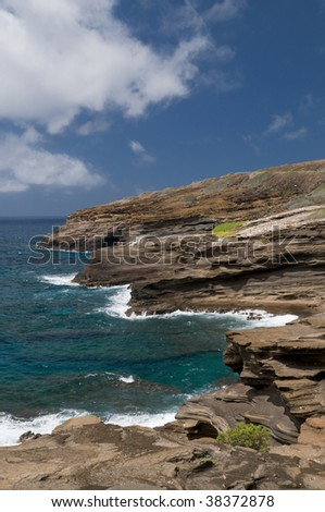 View of rugged coast from Lanai Lookout, on the east shore of Oahu, Hawaii