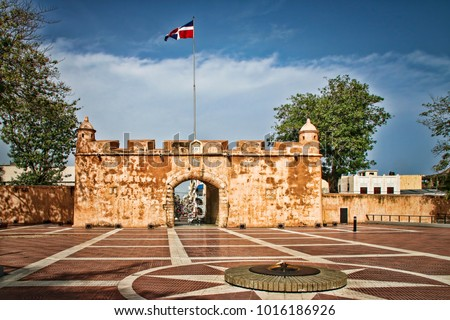 Shutterstock View of Ruins of Historic Colonial Era Fortress Wall (Puerta del Conde, Santo Domingo, Dominican Republic).