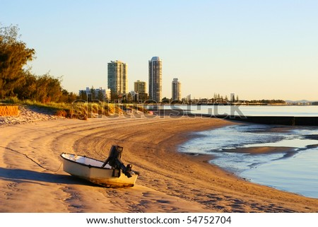 View of Runaway Bay on the Gold Coast in Australia from the Broadwater at sunrise.