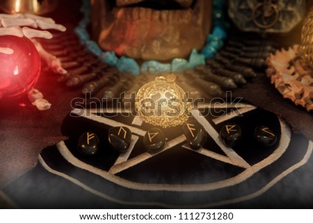 View of rune on the table. Under candlelight. It is mean F, U, TH, A, R, K. Photo stock ©