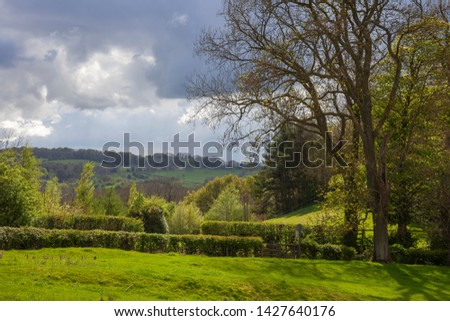 View of rural Cotswolds, Gloucestershire, England.