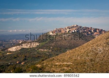 View of rural village Sant Angelo Romano, Italy and the below valley