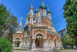 View of Russian Orthodox Cathedral of Saint Nicolas de Nice (Cathedrale Orthodoxe Saint-Nicolas), Cote d Azur, French riviera, France