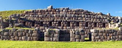 View of Sacsayhuaman fortress, Inca ruins in Cusco or cuzco town, Peru
