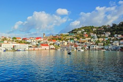 View of Saint George's harbor, capital of Grenada island, Caribbean region of Lesser Antilles