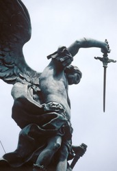 View of Saint Michael statue on Castel Sant'Angelo in Rome. Italy.