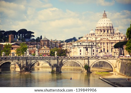 View of Saint Peter cathedral and bridge Saint Angel Rome Italy