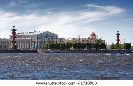 View of Saint Petersburg from Neva river. Rostral column. Russia