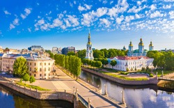 View of Saint Petersburg on a Sunny summer day. Russia. The architectural ensemble of the St. Nicholas naval Cathedral. Rivers Of St. Petersburg. Churches Of St. Petersburg. Orthodox church.