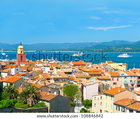 View of Saint-Tropez with seascape and blue sky. France, french riviera