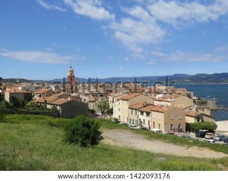 view of Saint Tropez with the bell tower Notre Dame de l Assomption French Riviera Cote d Azur France April