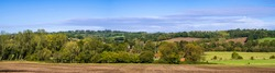 View of Salehurst from Lordship wood on the high weald near Robertsbridge east Sussex south east England