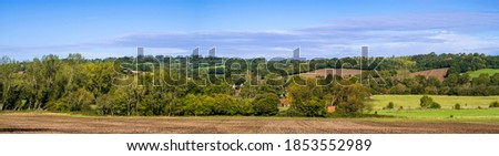 View of Salehurst from Lordship wood on the high weald near Robertsbridge east Sussex south east England Stockfoto ©