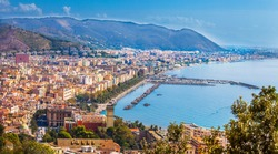 View of Salerno and the Gulf of Salerno Campania Italy