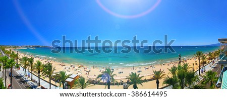 View of Salou Platja Llarga Beach in Spain from the last floor of a coast building