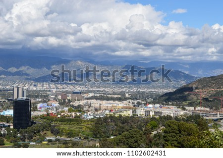 View of San Fernando Valley in Los Angeles, CA overlooking Universal City and Burbank, Universal Studios Hollywood, Warner Bros Studios and Disney Studios
