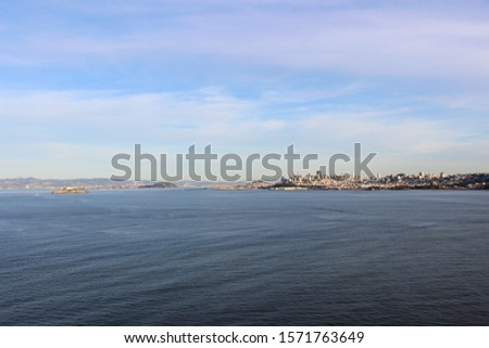 View of San Francisco and Alcatraz Island from Golden Gate Bridge Vista Point.  #1571763649