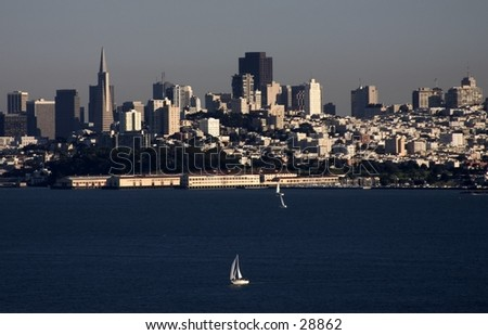 View of San Francisco from the Golden Gate Bridge - stock photo