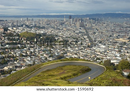 View of San Francisco from the twin Peaks, California, Usa
