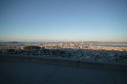 view of San Francisco from Twin Peaks at sunset