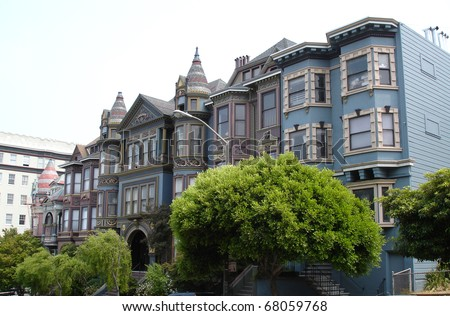 View of San Francisco with Victorian houses