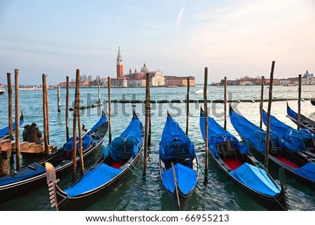 View of San Giorgio maggiore with gondolas. From San marco.