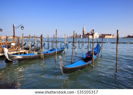 View of San Giorgio maggiore with gondolas, Venice