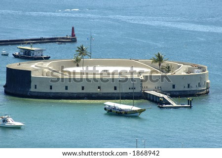 "view of ""San Marcelo Fortress"", famous post card of Salvador de Bahia, Brazil"