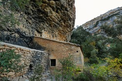 View of San Mart?n de Lecina Hermitage in Sierra de Guara gorge near Lecina village, Huesca province in Aragon, Spain