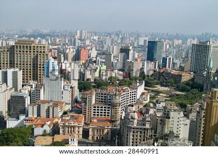 View of San Paolo skyline from the banesco building, Brazil