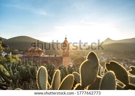 View of San Pedro hill at sunrise in San Luis Potosi, old town like Real de Catorce, Mexico (Cerro de San Pedro pueblo magico)