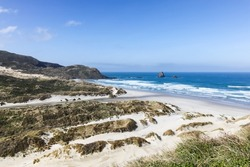 View of sandfly bay - Dunedin New Zealand. This rugged piece of coastline is home to Penguin and Seals.