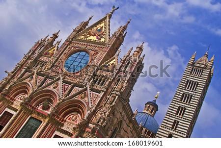 View of Santa Maria Assunta Cathedral, Siena, Tuscany, Italy