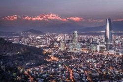 View of Santiago and Andes Mountains at Sunset from Cerro San Cristobal, Chile