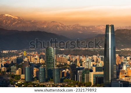View of Santiago de Chile with Los Andes mountain range in the back Сток-фото ©