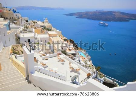 view of Santorini island Greece