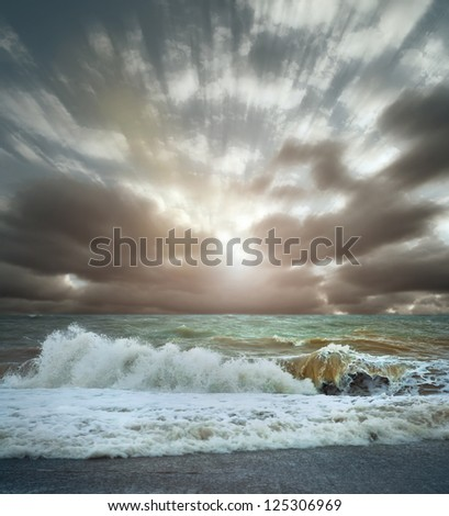 View of Sea surf stormy landscape with cloudy sky