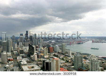 View of Seattle downtown from Space Needle