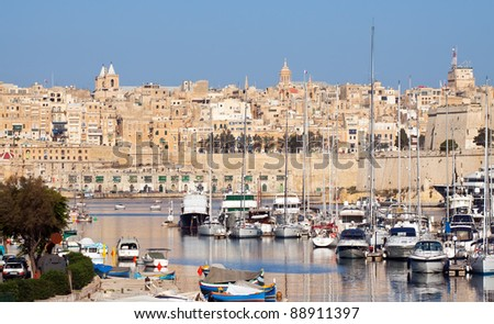 View of Senglea and  yachts in Dockyard Creek. Malta