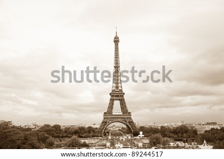 View of sepia toned Eiffel tower in Paris, France