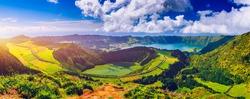View of Sete Cidades near Miradouro da Grota do Inferno viewpoint, Sao Miguel Island, Azores, Portugal. Grota do Inferno viewpoint at Sete Cidades on Sao Miguel Island, Azores, Portugal.