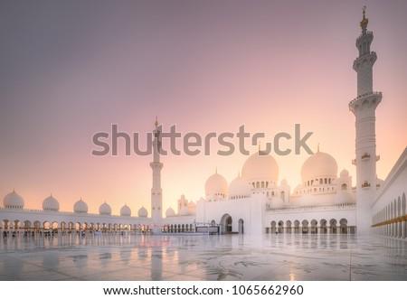 View of Sheikh Zayed Grand Mosque at purple sunset, Abu-Dhabi, UAE