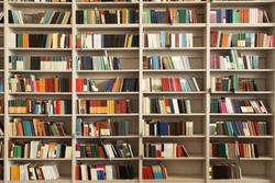 View of shelves with books in library