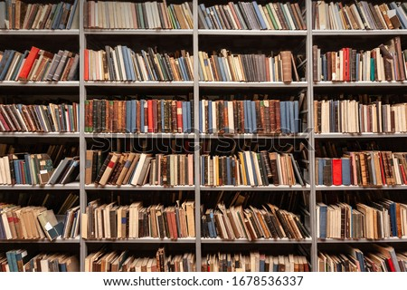 View of shelves with old books in library Foto stock ©