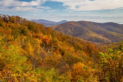 View of Shenandoah National Park and the Blue Ridge Mountains from the park's famous Skyline Drive Tunnel Parking Overlook.